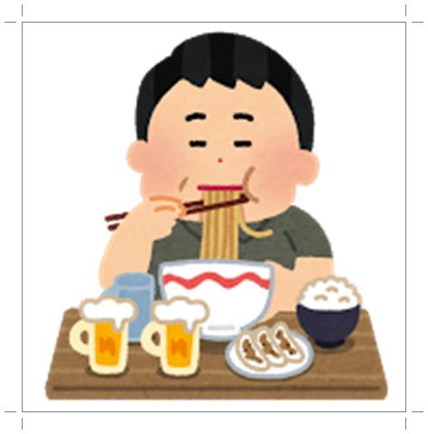カロリーの高いものばかりを食べる男性