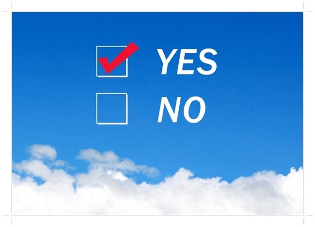 YESとNOが青空に表示されている